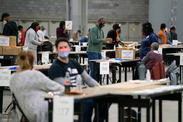 Recounting ballots at the Georgia World Congress Center in Atlanta in mid-November.