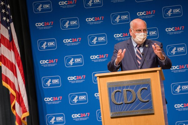 Dr. Robert Redfield, the C.D.C. director, during an October briefing at the agency's headquarters in Atlanta.