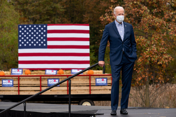 President-elect Joseph R. Biden Jr. waiting to speak at a drive-in event at Bucks County Community College in October.