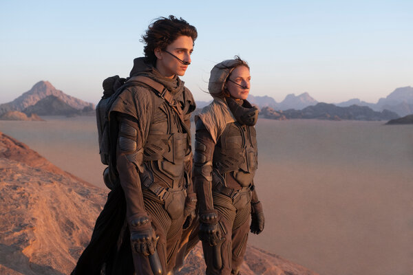 "Timothée Chalamet and Rebecca Ferguson in ""Dune,"" one of 17 films Warner Bros. will release in theaters and on HBO Max simultaneously next year."