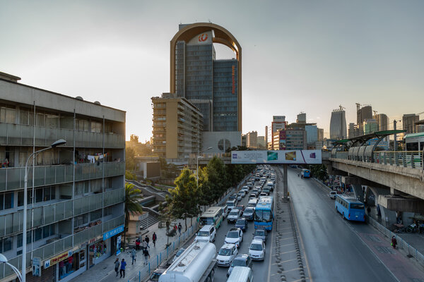 The downtown business district of Addis Ababa. Some ethnic Tigrayans have encountered trouble leaving Ethiopia.