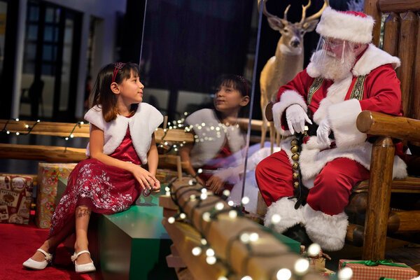 A Santa meet-and-greet at Bass Pro Shops in Bridgeport, Conn.