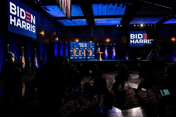 Joe Biden, the Democratic nominee for President, in Wilmington, DE on Friday.