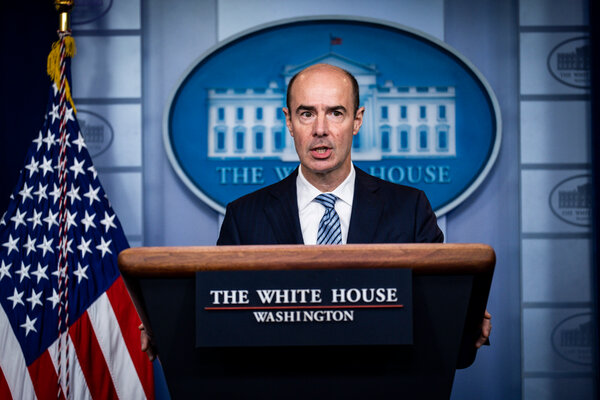 Secretary of Labor Eugene Scalia answers questions during a press briefing in the White House.
