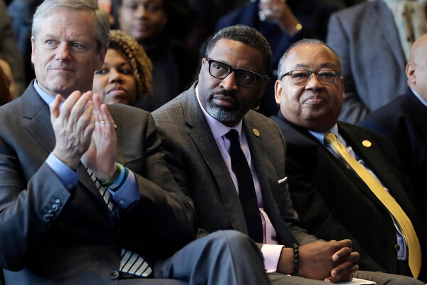 """""""He appointed John Kerry to be the climate envoy, reporting directly to him,"""" Derrick Johnson, center, the president of the N.A.A.C.P., said of President-elect Joseph R. Biden Jr. """"We believe a national adviser on racial justice should be something equivalent."""""""