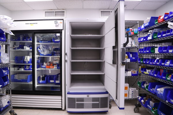 Freezers at Northwell Health at New Hyde Park, N.Y., awaiting doses of the coronavirus vaccine.
