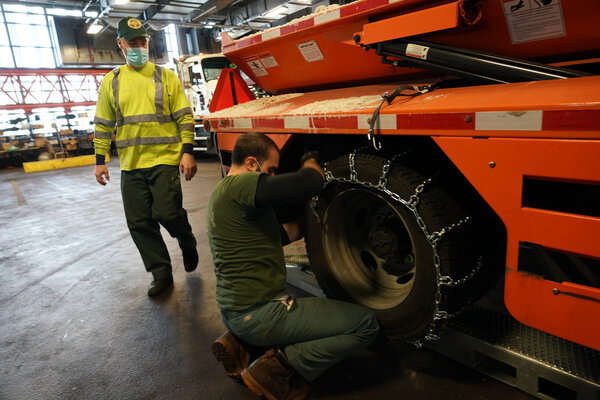 The New York Department of Sanitation prepared its equipment on Tuesday for first big storm of the season.