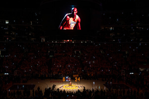 The public memorial service for Kobe Bryant and his daughter Gianna at the Staples Center in Los Angeles on Feb. 24.