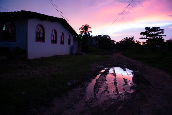 Sunset over the Casa de la Mujer Indígena Nellys Palomo Sánchez in San Luis Acatlán, Guerrero.
