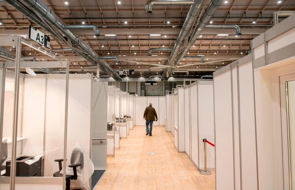 A newly built coronavirus vaccination center in Hamburg, Germany, on Friday. The European Union is poised to start distributing shots to all 27 member nations.