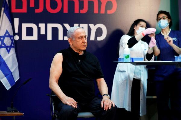 Prime Minister Benjamin Netanyahu received the Covid-19 vaccine at Sheba Medical Center in Ramat Gan, Israel, on Saturday.