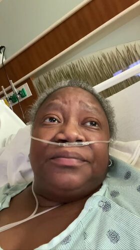 Dr. Susan Moore, in a screenshot from a video she took while hospitalized with Covid-19.