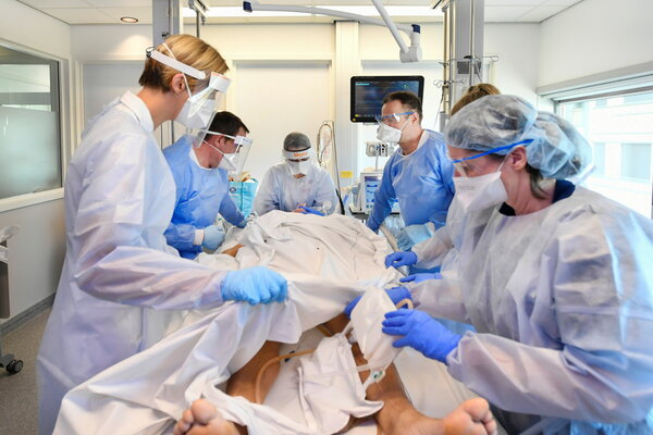 Medical staff treating a patient with Covid-19 in the intensive care unit at Maastricht University Medical Center+ in Maastricht, Netherlands, last month.