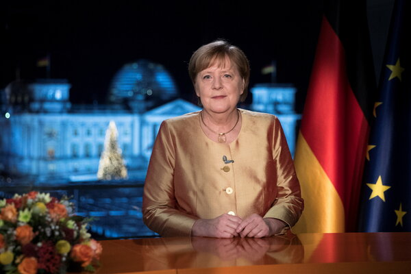 """Chancellor Angela Merkel, who is expected to leave office in 2021, spoke of hope in her annual speech, but also how """"this is a hard winter, and it is far from over."""""""