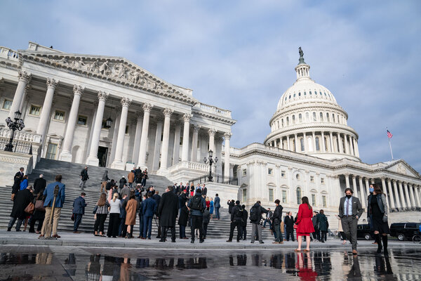 Members of Congress on the steps of the Capitol on Monday.