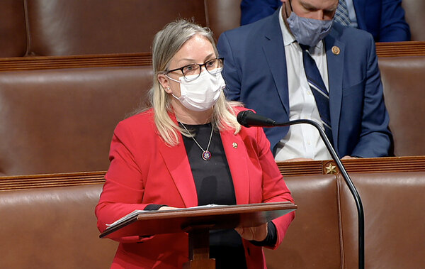 Rep. Susan Wild, Democrat of Pennsylvania, on the floor of the House early Thursday debating objections to confirming the Electoral College vote from Pennsylvania.