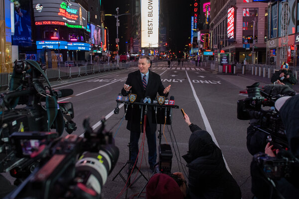 Dermot F. Shea, the New York City police commissioner, in Times Square last month.