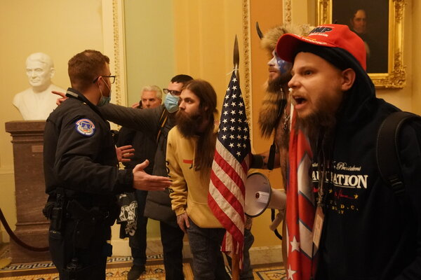Trump supporters during the breach of the U.S. Capitol on Wednesday. Many of the rioters are being identified through the use of facial recognition technology.