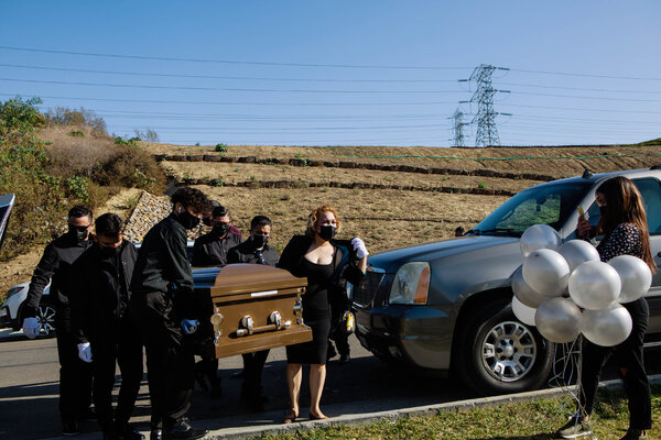 Relatives mourned Gilberto Arreguin, 58, who died from complications of Covid-19 in Whittier, Calif., last month.