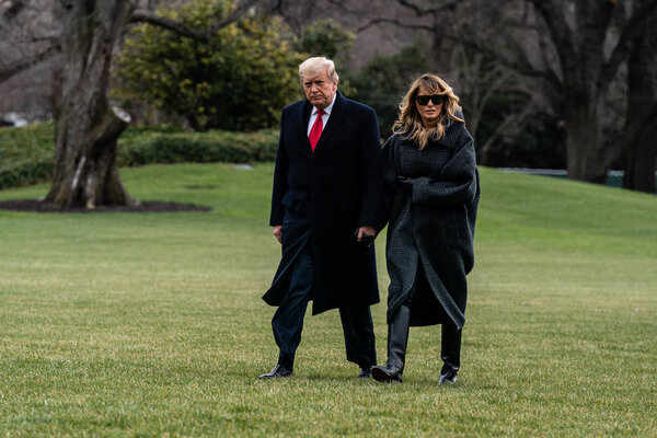 "Melania Trump, the first lady, who had not spoken publicly since sending well wishes on New Year's Day, urged people to ""listen to one another."""