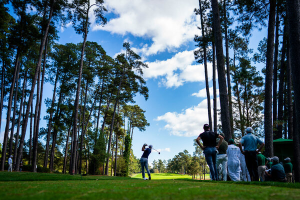 Dustin Johnson teeing off the 17th tee during round two at the Masters golf tournament in Augusta, Ga., in November.