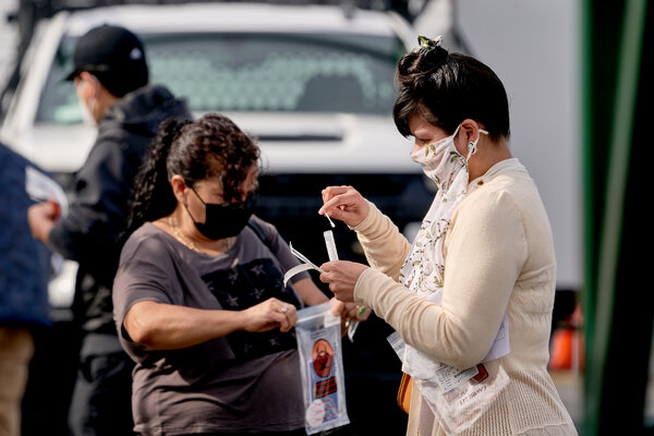 A coronavirus testing site in a shopping center parking lot in southern Los Angeles last week.