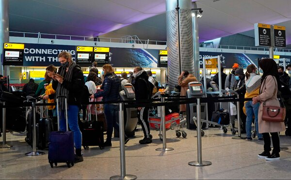 A TAP Air Portugal check-in desk at Heathrow Airport in London last month. Britain has banned travelers from Portugal and Latin America, citing concern about a new variant of the coronavirus.