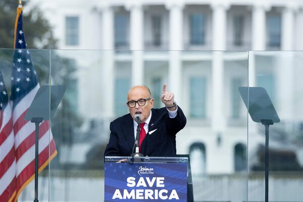 President Trump's personal lawyer, Rudolph W. Giuliani, spoke to Trump supporters before rioters attacked the U.S. Capitol on Jan. 6.