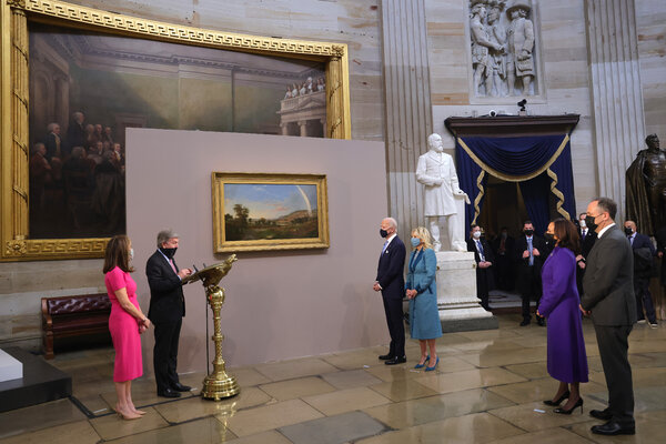 """The inaugural painting,""""Landscape with Rainbow"""" by Robert S. Duncanson, was displayed in the Capitol Rotunda."""