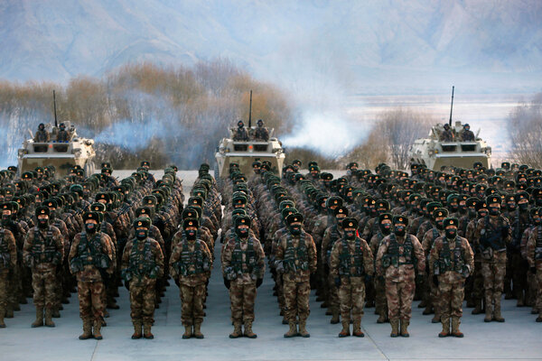 Chinese soldiers training in Kashgar this month.