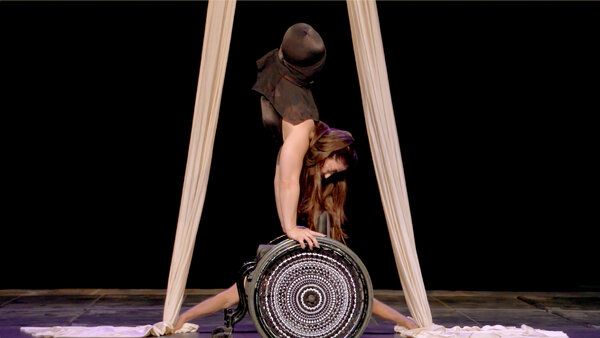 Dominik Bauer and Jen Bricker-Bauer performing in Omnium, a circus of inclusion that will be shown multiple times weekly on a customized streaming platform through April 4.