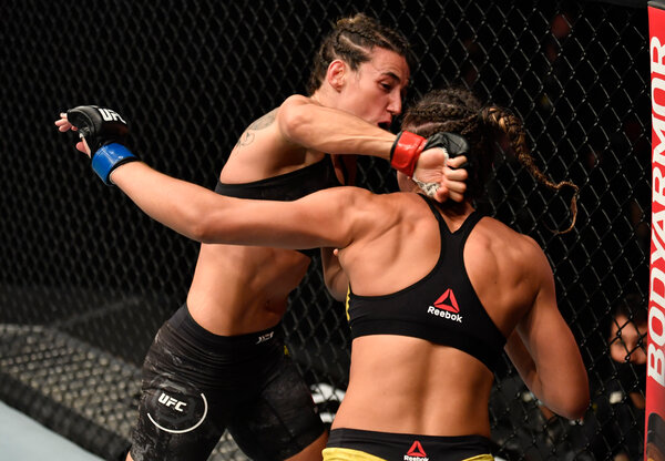 Marina Rodriguez of Brazil knocked out Amanda Ribas in their strawweight bout.