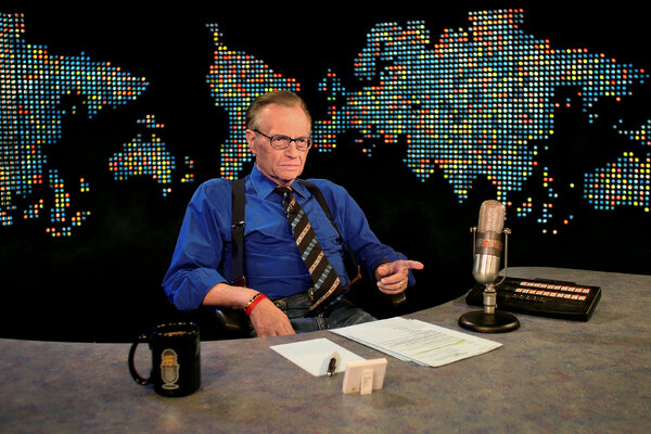Larry King on the set at CNN studios in Los Angeles in 2007.