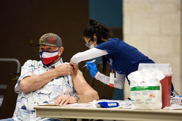 Terry Littlepage received the Moderna coronavirus vaccine in New Braunfels, Texas, on Thursday.