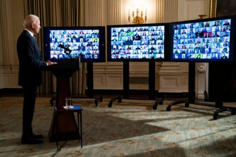 President Biden held a virtual swearing-in ceremony for White House aides and appointees on Inauguration Day.
