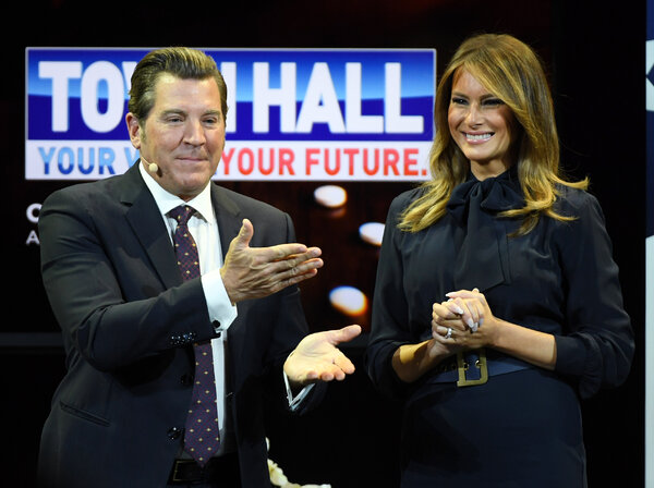 Eric Bolling with Melania Trump.Mr. Bolling was hired by Sinclair TV in 2019.