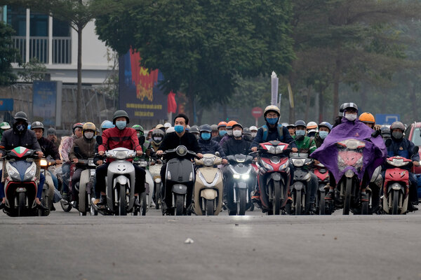 A street in Hanoi, Vietnam, on Thursday. The country reported 82 cases on Thursday, mostly in the northern province of Hai Duong.