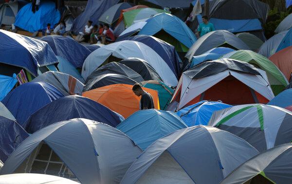 Un campamento de migrantes en Matamoros, en 2019.