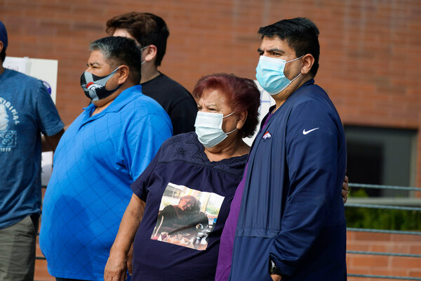 A protest outside the Denver office of the Occupational Safety and Health Administration last year after hundreds of workers at a Colorado meatpacking plant developed Covid-19, six fatally.