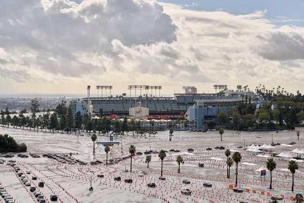 A Covid-19 vaccination site at Dodger Stadium, seen here on Friday, was temporarily blocked by anti-vaccination protesters on Saturday.
