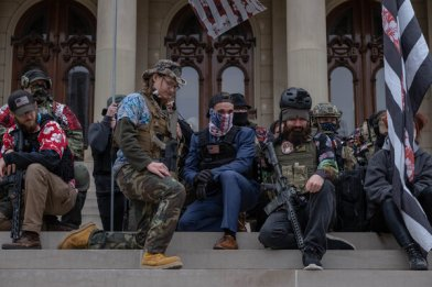 A group affiliated with the boogaloo, a loosely organized far-right movement preparing for a civil war, in Lansing, Mich., in October.