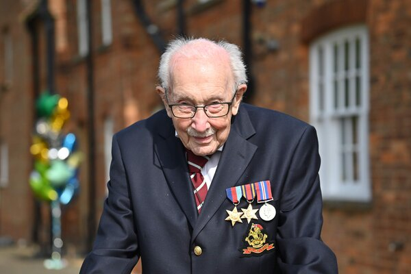 Captain Tom Moore, a British veteran of World War II, was hospitalized on Sunday.