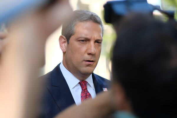 Representative Tim Ryan speaking to the media in Dayton, Ohio.