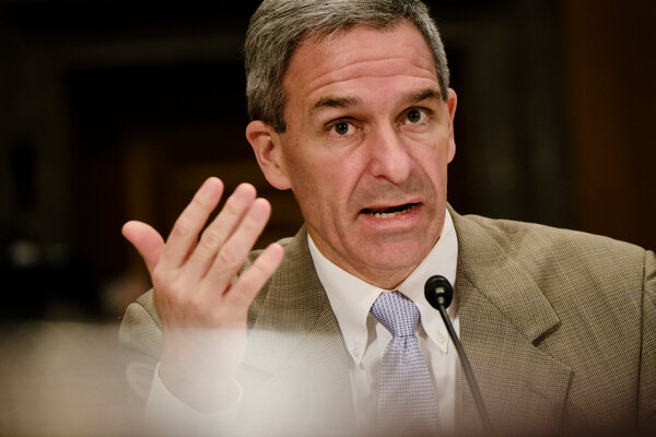 Ken Cuccinelli, former deputy secretary of homeland security, during a hearing of the Senate Homeland Security and Governmental Affairs Committee.