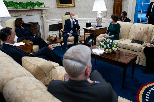President Biden and Vice President Kamala Harris met with Republican senators on Monday about a stimulus plan.