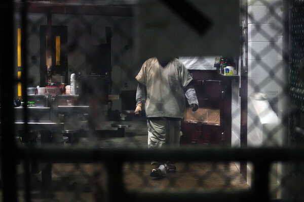 A prisoner at the Camp 5 and 6 detention center at Guantánamo Bay, Cuba, in 2019.