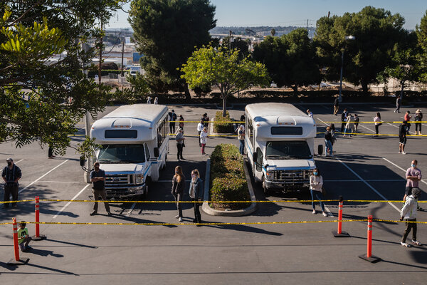 A testing site at the University of San Diego in California on Friday.