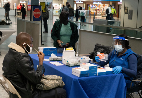 NYC Health and Hospitals set up a coronavirus testing site at Penn Station near the Amtrak gates in November.
