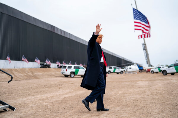 President Donald J. Trump at the border wall before he left office. Pockets of employees loyal to Mr. Trump and his agenda remain ensconced in parts of the government.