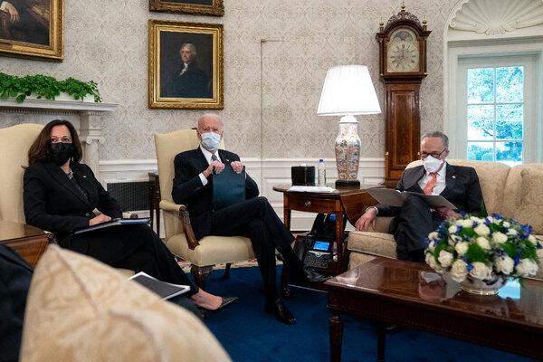President Biden and Vice President Kamala Harris meeting with Democratic senators at the White House on Wednesday.